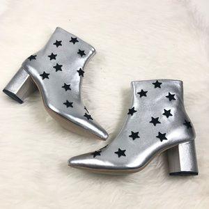NEW RAYE X REVOLVE Silver Metallic Star Ankle Boot
